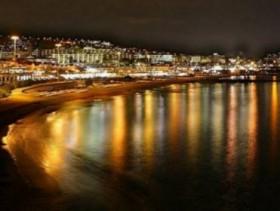 The beautiful night scene of Playa de las Americas