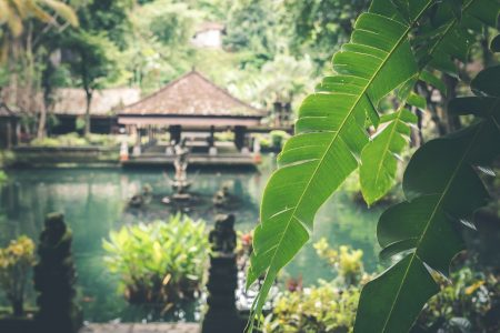 cottage in Bali over body of water
